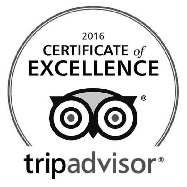 Tripadvisor Certificate of Excellence 2016 Winner