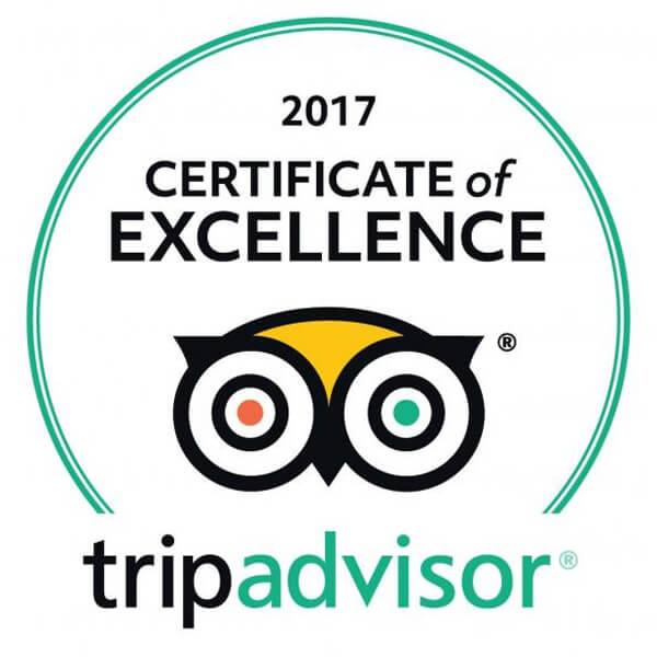 Tripadvisor Certificate of Excellence 2017 Winner